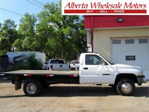 1998 D0DGE RAM 3500 1 TON DUALLY 4X4 DIESEL FLAT DECK 5 SPEED