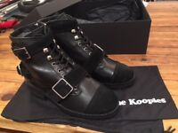 The Kooples BRAND NEW Black Leather and Suede Ankle Boots Size 5 / 38