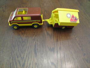 Vintage Tonka camping van and trailer
