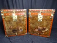 Pair Antique Style English Finest Leather Campaign Trunks Coffee Bedside Tables