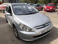 2002 Peugeot 307 diesel estate, starts and drives, MOT until 22nd September, does export, car locate