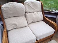 Cane 2 seater sofa / lounge and 2 x single seater chairs.