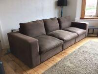Sofa 3 seater chocolate brown fabric sofa 3 separate chairs
