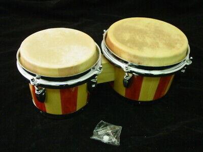 "BONGOS 7 & 8"" inch SET NATURAL LIGHT WOOD DUAL DRUMS WORLD LATIN Percussion NEW"