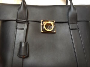 Brand New Salvatore Ferragamo Black Hand bag+ removable pouch Ba