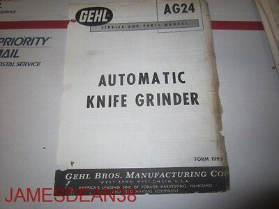 Gehl Ag24 Automatic Knife Grinder Service Parts Catalog Book Manual 1992