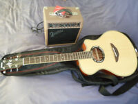 Yamaha electric/acoustic guitar and amplifier