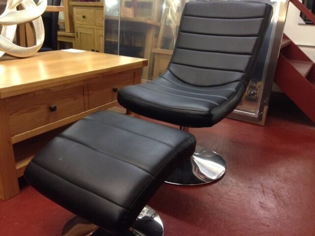 New Modern black faux leather lounger & foot stool EX DISPLAY HALF PRICE