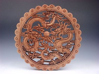 - Camphor Wood Furious Double Dragons Pearl Ball Carved LARGE Hanging Panel