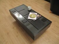 IKEA Glass Top Coffee Table with 2 Slide Drawers & Base Compartment