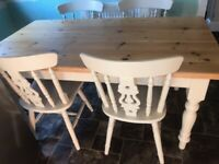 ANTIQUE PINE FARMHOUSE TABLE & 4 CHAIRS KITCHEN DINING 5FT6 X 3FT
