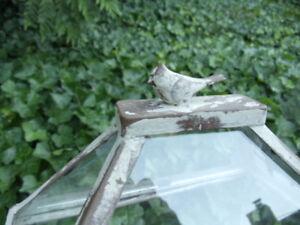 Wardian Case Terrarium Set WEATHERED WHITE Glass Metal Display Case Table Top