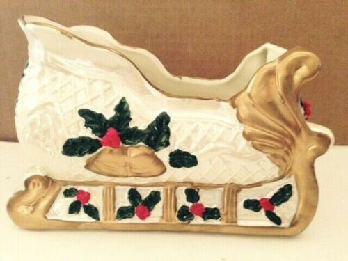 Holiday At Home Porcelain Sleigh, New, Free Shipping
