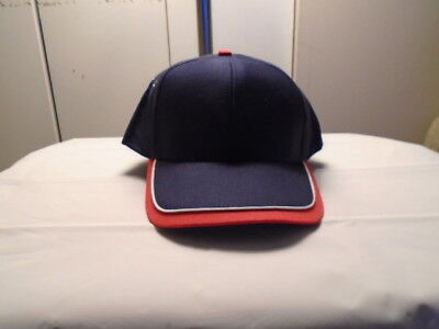 (ONE NEW NAVY BLUE CAP/HAT-RED EDGE+WHITE PIPING ON BILL-METAL EYELETS-MO[24008)