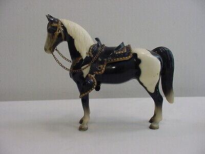 Vintage Breyer Black & White Pinto Western Pony With Saddle - Glossy