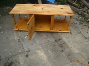 Solid wood (pine) coffee table for sale with cupboard