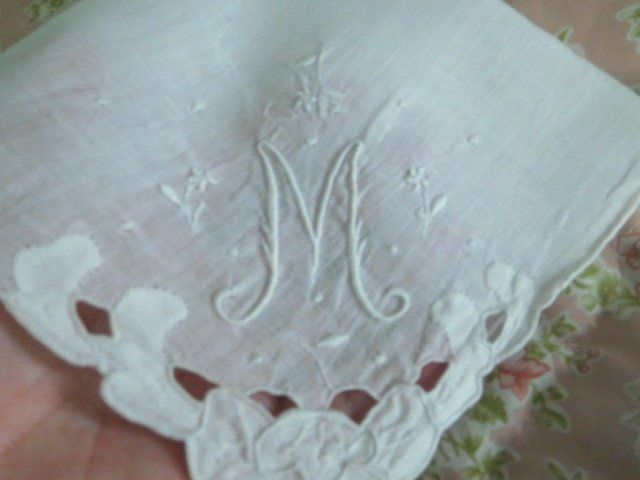 STUNNING Antique Bridal *Embroidery & Applique* MONOGRAM M Vintage WEDDING HANKY