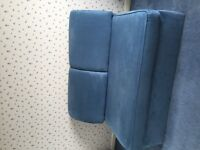 Blue Suedette Sofa Bed - hardly used, perfect condition. Ideal for putting up those Christmas guests