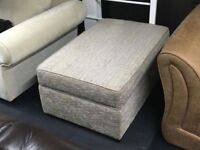 LIGHT BROWN BEIGE QUALITY CHENILLE FABRIC STORAGE FOOT STOOL