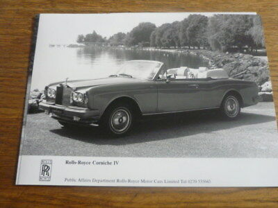 ROLLS ROYCE CORNICHE IV  ORIGINAL PRESS PHOTO