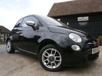 0808 FIAT 500 1.2 SPORT BLACK/BLACK LEATHER SEATS LOCAL YOUNG LADY OWNER 52K FSH