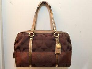 100% Authentic Coach Signature Stripe Zip Satchel Bag