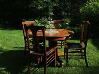 4 Antique Solid Oak & Leather & Tack Dining Chairs