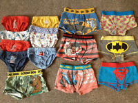 Bundle of boys pants & boxer shorts age 3-4 years (15 pairs) (M&S & BatMan, Spiderman, Superman)