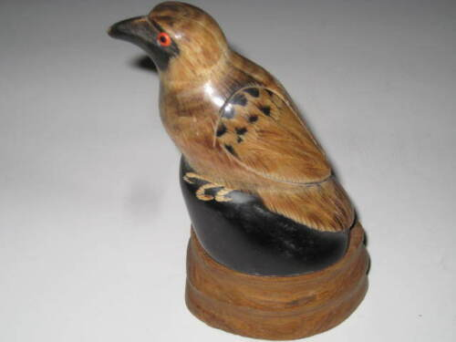 HAND CARVED BIRD in Wood Base, WATER BUFFALO HORN, THAILAND