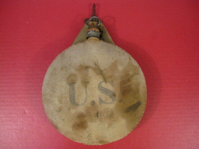 Spanish American War US Pattern 1878 Canteen w/Cork & Chain - Unit Marked - 1911
