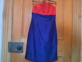 Strapless 100% raw silk designer dress by Jan Plumpton,measurements in ad but small size