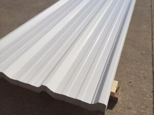 SHEETS OF NEW WHITE STEEL FOR ROOFING - 36 INCHES WIDE