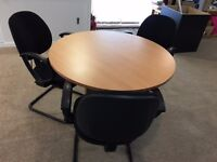 Round Meeting Table and Three Chairs