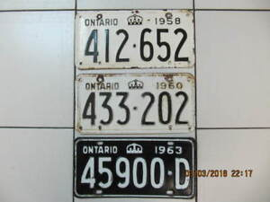 Classic  3 Piece Lot Of Ontario Licence Plates 1958/1960 & 1963