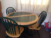Extendable Dining table with 4 chairs + Love seat & a recliner