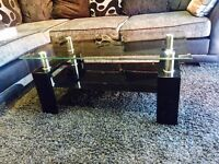 ***Glass Coffee Table With Black Gloss Legs***