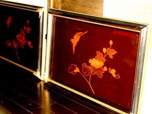 old CHINESE lacquer WALL ART SET x4 BIRDS BAMBOO IRIS DOGWOOD Cambridge Kitchener Area image 7