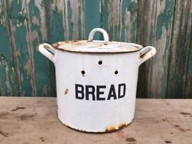 Salvaged metal bread bin