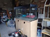 fluvel 200l fish tank with wood effect stand.