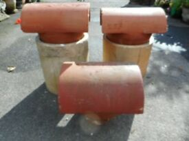 "two red clay chimney cowls for 9"" flues or smaller"