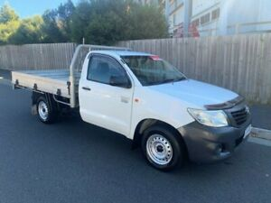 2013 Toyota Hilux TGN16R MY14 Workmate White 5 Speed Manual Cab Chassis North Hobart Hobart City Preview