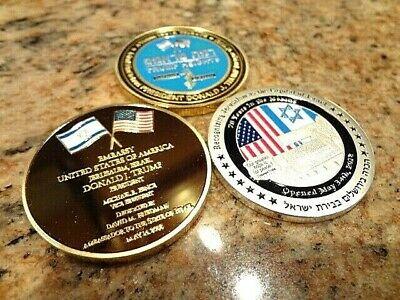 SET OF 3 NEW COINS USA-ISRAEL EMBASSY TRUMP 1 YEAR ANNIVERSARY