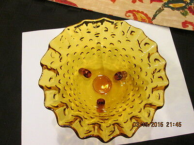 "AMBER GLASS BOWL Hobnail ruffled edge 3-footed 6"" X 3"" lovely"