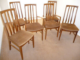 William Lawrence Late 1970s Made In England Solid Teak Danish Style Dining Chairs x 6 (4 +2 Carvers)