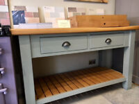 Freestanding workstation island butchers blocks with original tops, need the space hence price