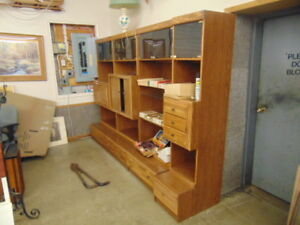 4 PIECE WALL UNIT IN OAK VERY RETRO