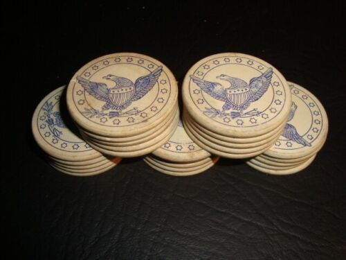 Antique White with Blue Eagle and Stars Clay Poker Chips – 25 in All