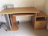wood computer desk, good condition, with keyboard sliding shelf