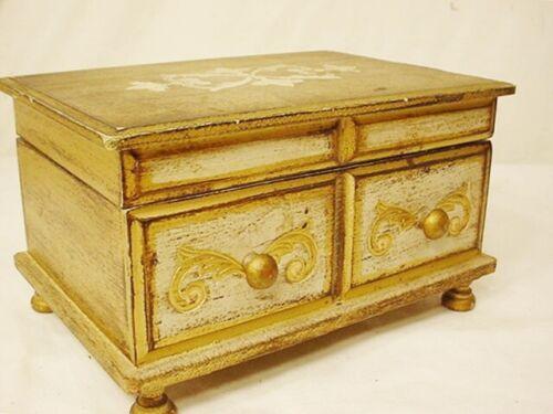 Vtg Wooden Jewelry Trinket Box Florentine Gilt Wood Music Gold Song Fascination