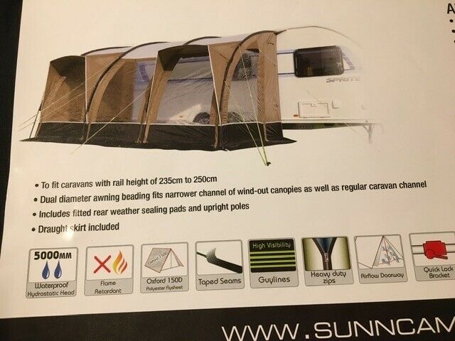 Sunncamp Ultima Aspire 390 Caravan Awning.  Only used twice. Black/Beige. Excellent Condition. for sale  Peterborough, Cambridgeshire
